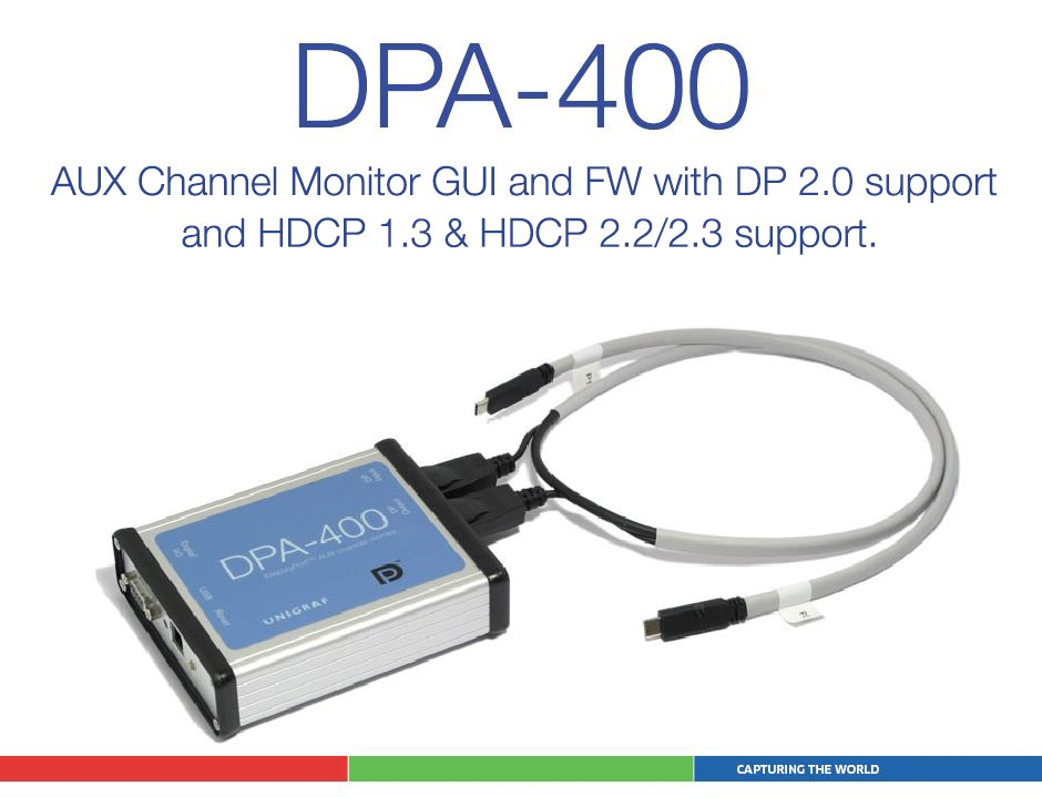 Unigraf DPA-400 AUX Channel Monitor now with DSC, FEC, LTTPR registers decoding and DP 2.0 support